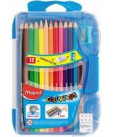 Värvipliiats ColorPeps 12tk+pliiats+teritaja+kustukumm plastkarbis
